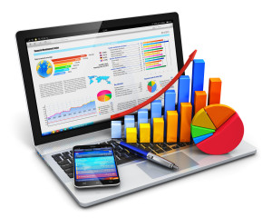 38532897 - creative abstract mobile office, stock exchange market trading, statistics accounting, financial development and banking business concept: modern laptop or notebook computer pc with stock market application software, growth bar chart, pie diagram, ballpoi