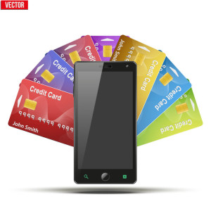 31288770 - different credit cards and cell phone. payment system and mobile technology. vector illustration isolated on white background.